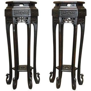 Chinese Carved Pedestal Tables or Plant Stands - A Pair