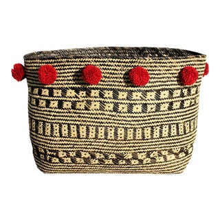Borneo Tribal Straw Basket - with Cranberry Pom-poms