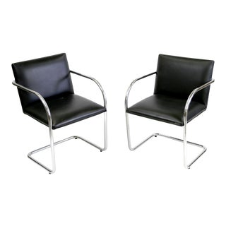 "Replica Bauhaus Cantilever ""Brno"" Black Leather Chairs by Mies Van Der Rohe- A Pair"