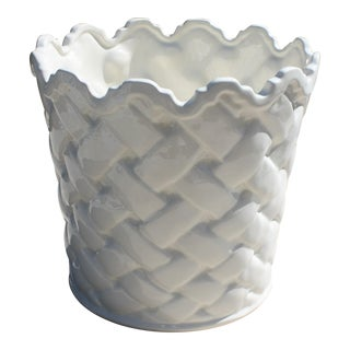 Large Blanc de Chine Chinoiserie Style Basketweave Planter