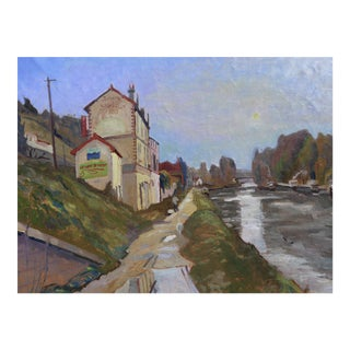 H. Curcuru French River Scene Painting