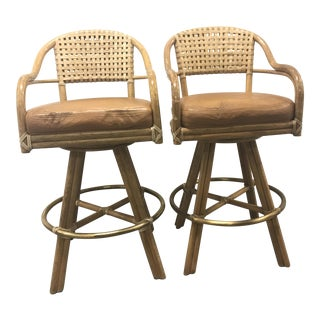 McGuire Antalya Swivel Bar Stools - A Pair
