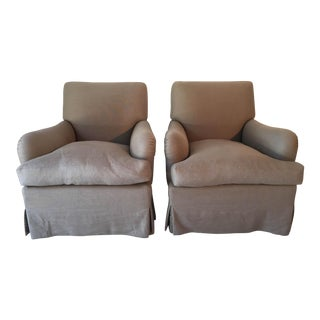 Baker Belgian Linen Club Chairs - A Pair