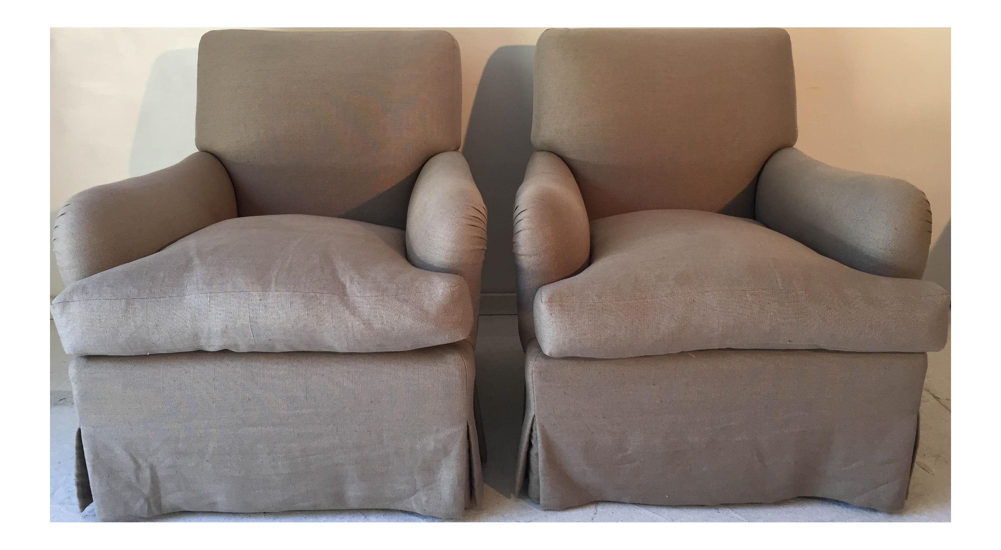 baker belgian linen club chairs a pair