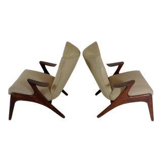 Modern Walnut Armchairs - A Pair