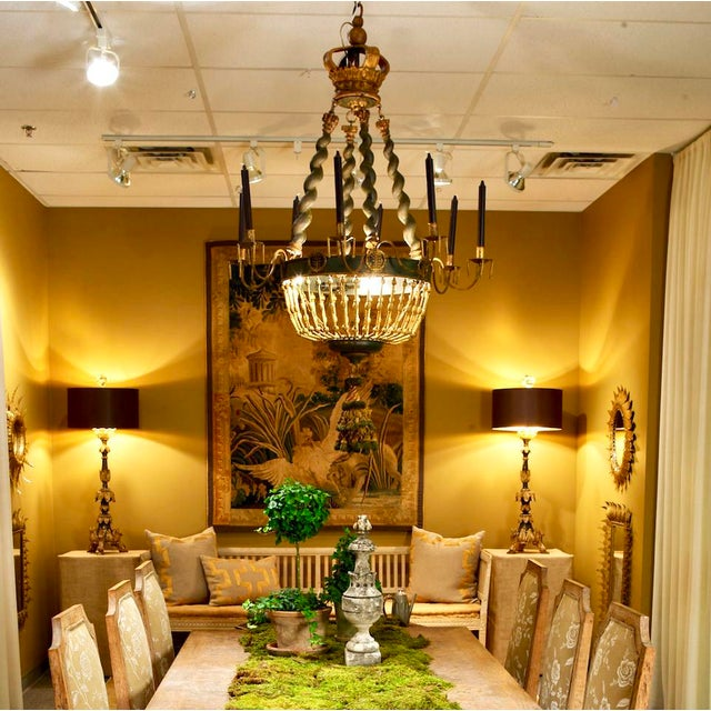 19th Century Custom Eight Arm Chandelier With Italian Crown - Image 3 of 8