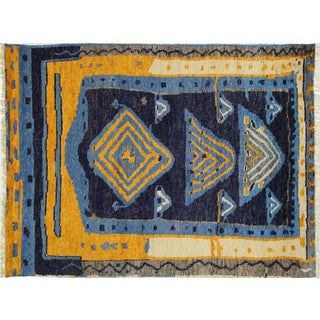 """Blue Wool Tullu Hand Knotted Rug - 7' 10"""" X 10' 3"""""""