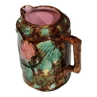 19th Century French Barbotine Water Pitcher With Flowers Leaves & Nuts