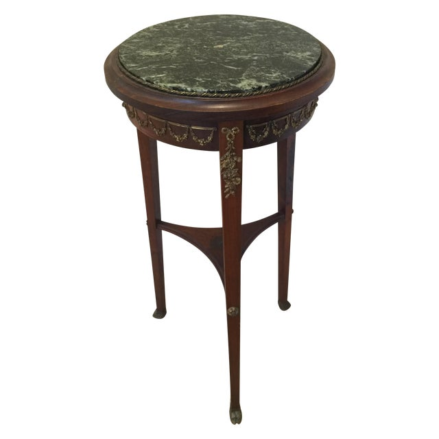 Antique Marble Side Table Reading: Vintage Round Lamp Green Marble Top Side Table