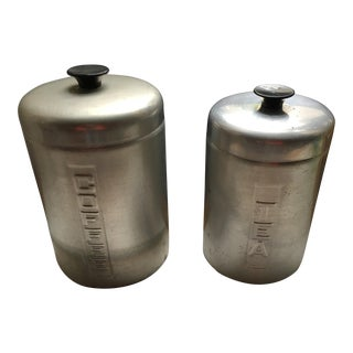 Chrome Kitchen Canisters - A Pair