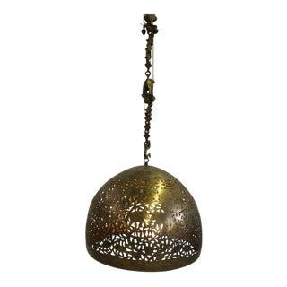Brass Dome Hanging Light Fixture