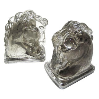 Mid Century Mercury Glass Horse Bookends - A Pair