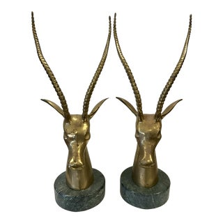 Brass Antelope Busts on Marble - A Pair