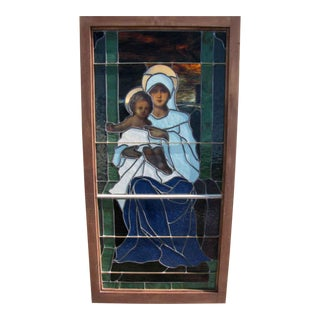 """Mary With Jesus"" Motif Stained Glass Window"