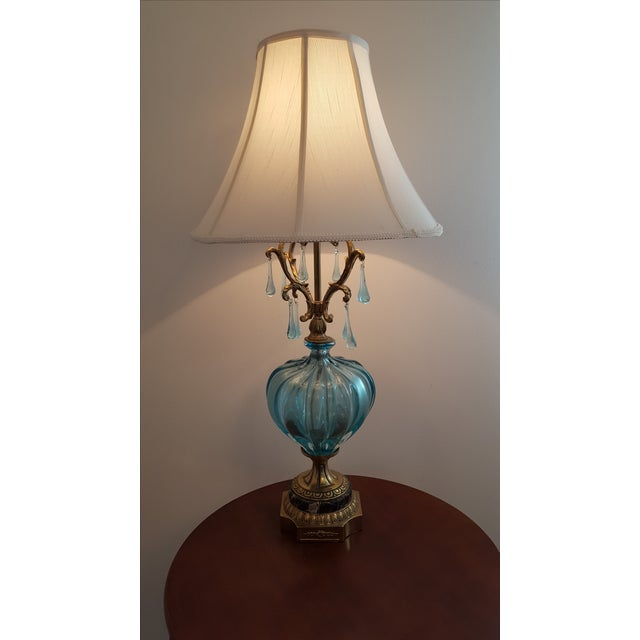 Image of Hollywood Regency Turquoise Murano Lamp