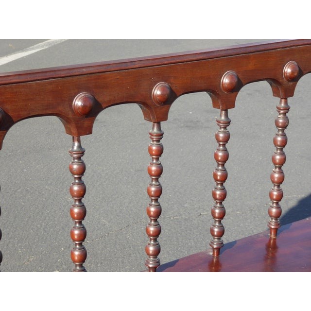 Vintage Spanish Colonial Style Carved Wood Spindle Bench - Image 10 of 10