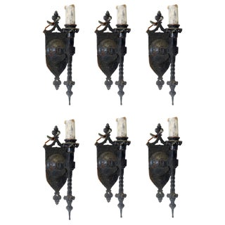 Gothic Iron Sconces - Set of 6