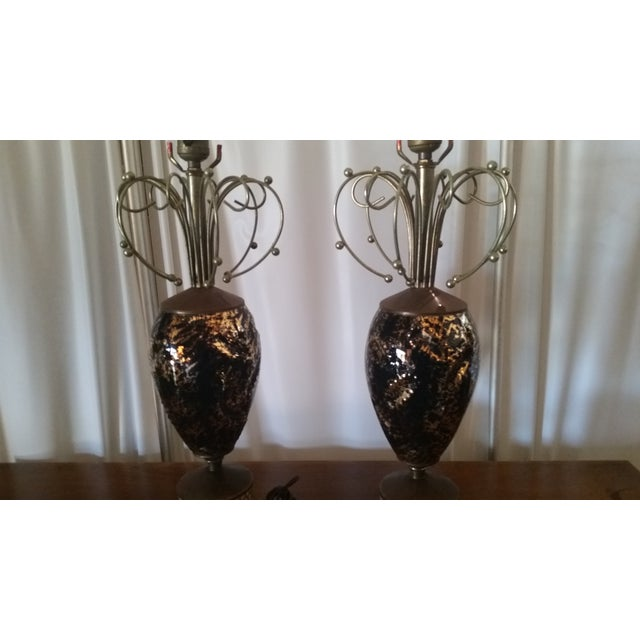 Image of Mid-Century Abstract Lamps - a Pair