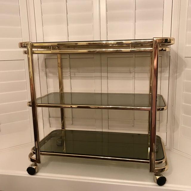 Image of Mid-Century Brass & Smoke Glass Bar Cart