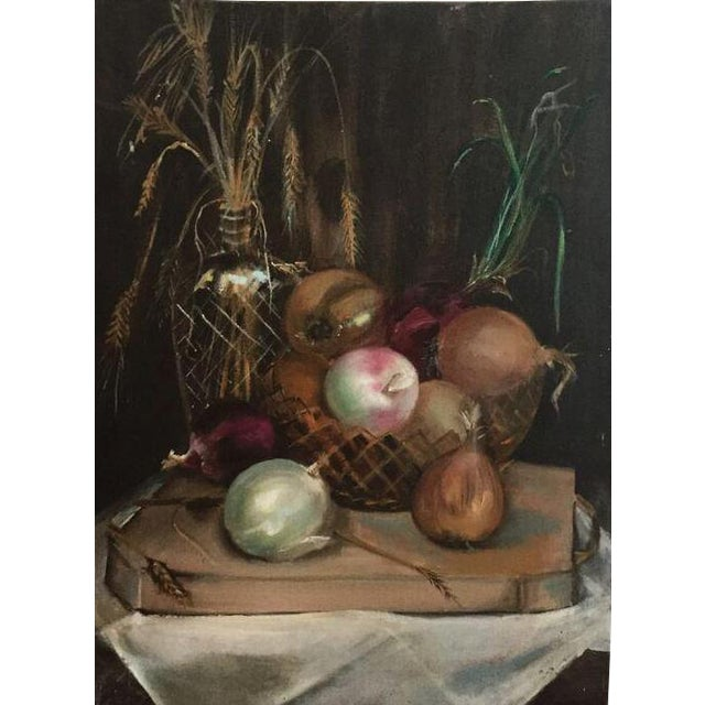 Image of Oil on Canvas Still Life Onion Painting