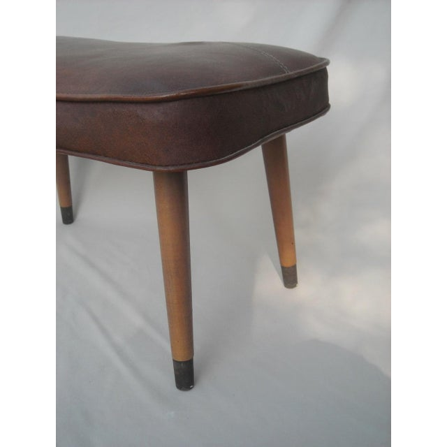 Danish Modern Brown Vinyl Ottoman - Image 6 of 6
