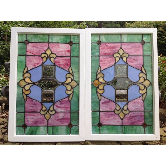 Antique Stained Glass Windows - Pair - Image 2 of 6