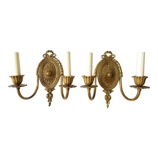 Pair of Vintage French Louis XVI Style Gilt Bronze Wired 2 Light Wall Sconces
