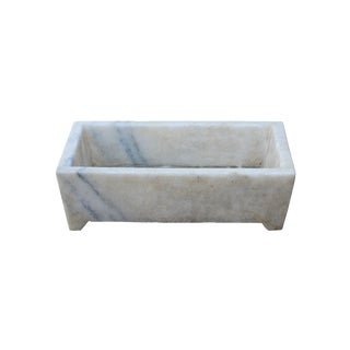 Chinese Off White Gray Marble Stone Carved Rectangular Pot Planter