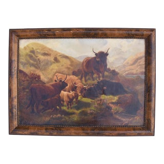Vintage Scottish Highland Cattle Oil Painting