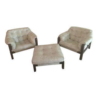 Mid-Century Sling Chairs & Ottoman - Set of 3