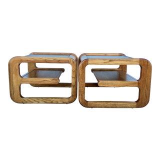 Geometric Oak & Glass Side Tables