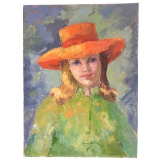 Contemporary Oil Painting - Young Lady With Orange Hat