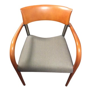 Loewenstein Fabric Covered Wood and Steel Arm Chair