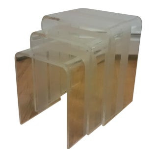 Mid Century Modern Waterfall Lucite Nesting Tables - Set of 3