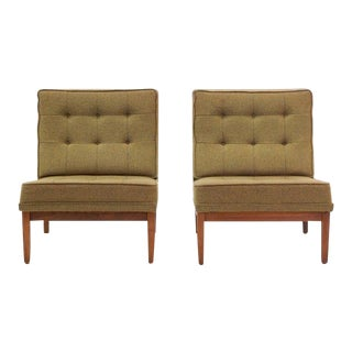 Early Pair of Florence Knoll Armless Slipper Chairs with Walnut Frames