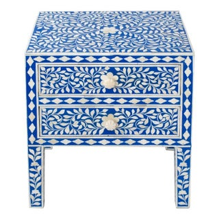 Indian Bone Inlaid Blue & White Nightstand