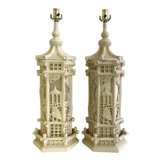 Faux Bamboo Chinoiserie Style Pagoda Lamps - A Pair