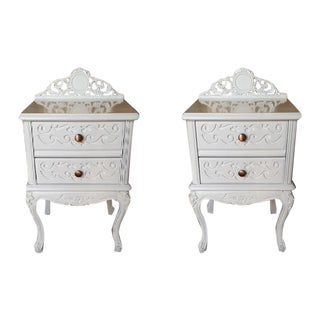 French Carved White Gloss Night Stands - A Pair