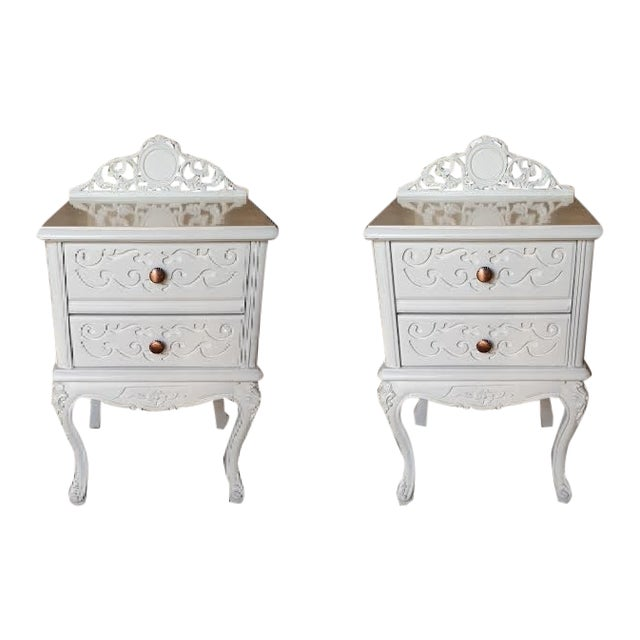 Image of French Carved White Gloss Night Stands - A Pair
