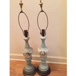Image of Vintage Hand-Painted Green Glass Lamps - A Pair