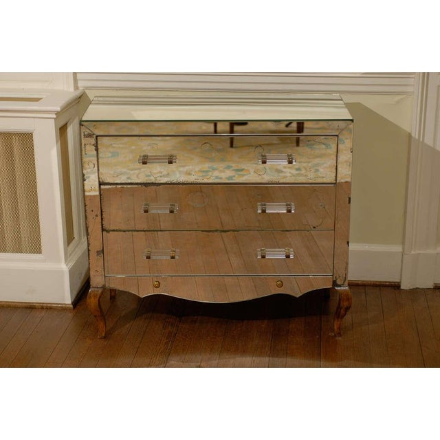 Mirrored Art Deco Three Drawer Chest with Brass Accents - Image 2 of 9
