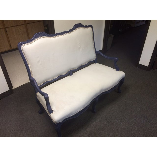 1800's Blue Distressed/Chalk Paint Settee - Image 2 of 6