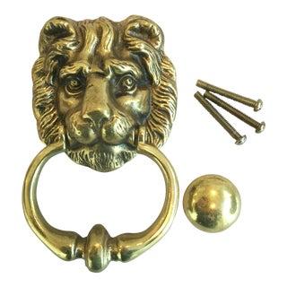 Vintage English Brass Lion Door Knocker With Strike Button