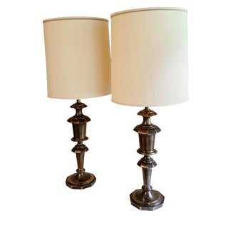 Stiffel Trophy Urn Style Antique Brass Lamps - A Pair