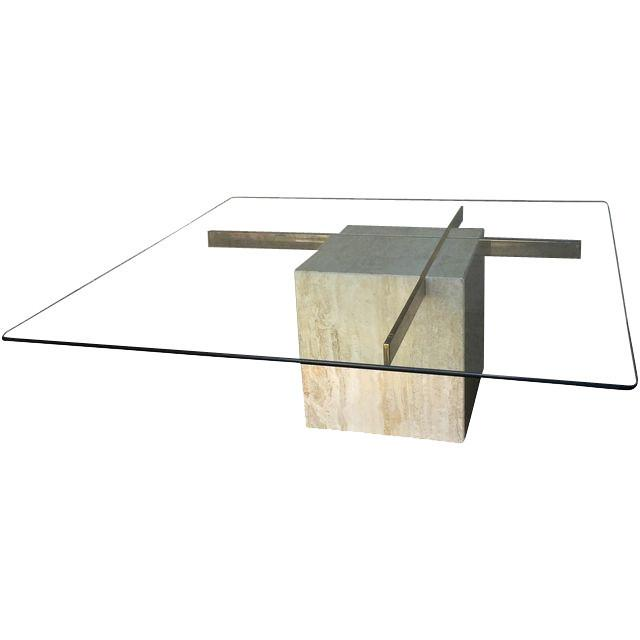 Image of Mid Century Travertine & Brass Cross Coffee Table