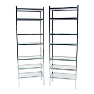Pair of Tall and Narrow Chrome Etageres by Charles Jones
