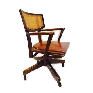 Mid-Century Rolling Desk Chair Danish Style Walnut