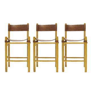 Leather with Buckles Safari Style Bar Stools in the Manner of Michel Arnoult