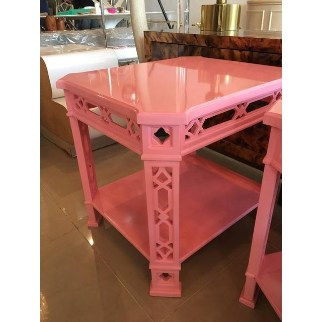 Chinoiserie Pink Lacquered Fretwork Side Tables - A Pair - Image 10 of 11