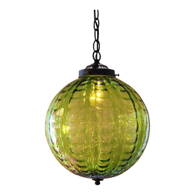 Mid century green globe pendant light chairish for Mid century modern globe pendant light